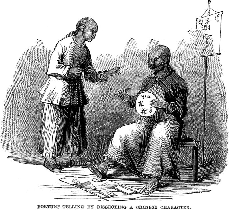 Fortune-telling by dissecting a Chinese character, from Social Life of the Chinese by Justus Doolittle, 1867