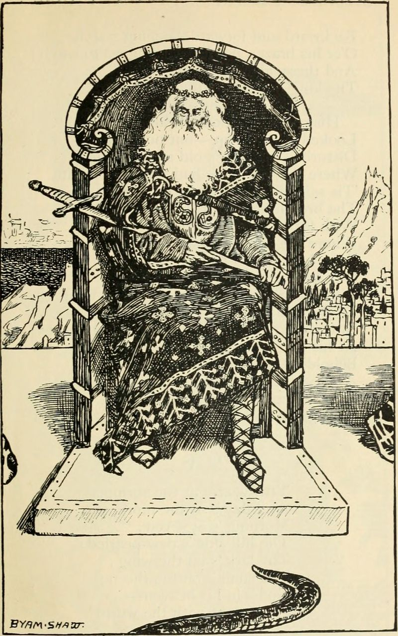 Here's a King of Swords from Poems by Robert Browning and illustrated by Byam Shaw, 1904