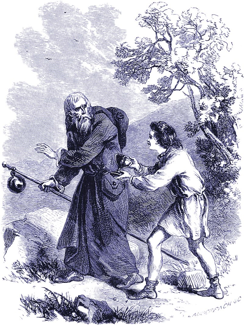 The Page of Cups meets The Hermit in Thomas Parnell's The Hermit, 1870