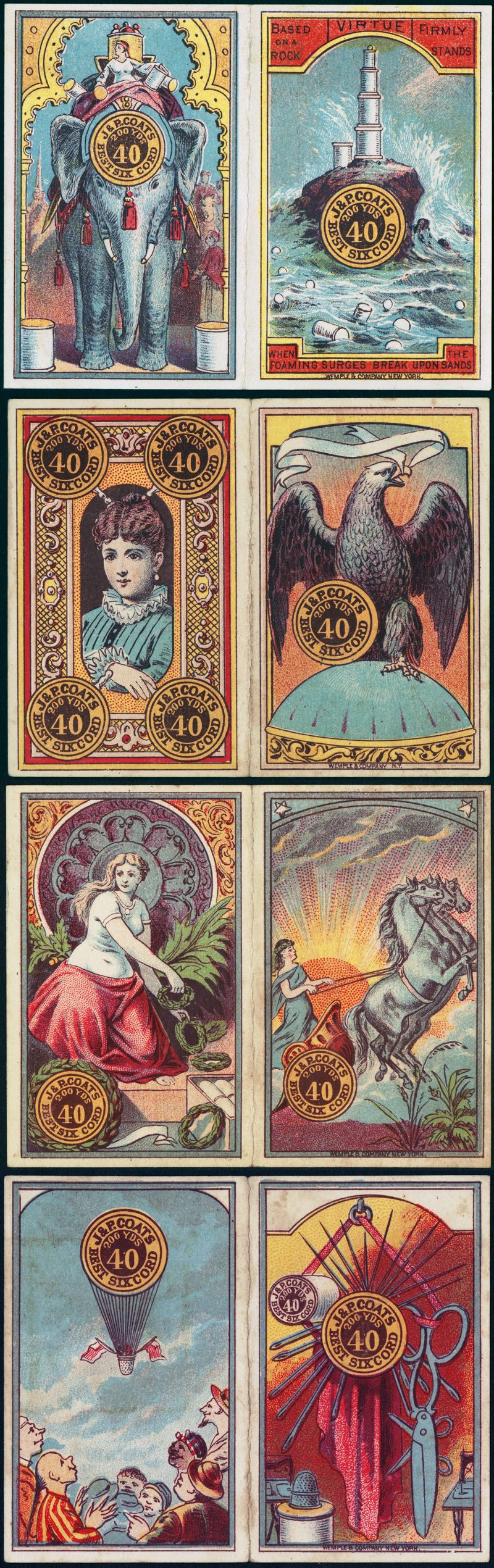 In the late 1800s, the J & P. Coats thread company released Tarot-like trade cards