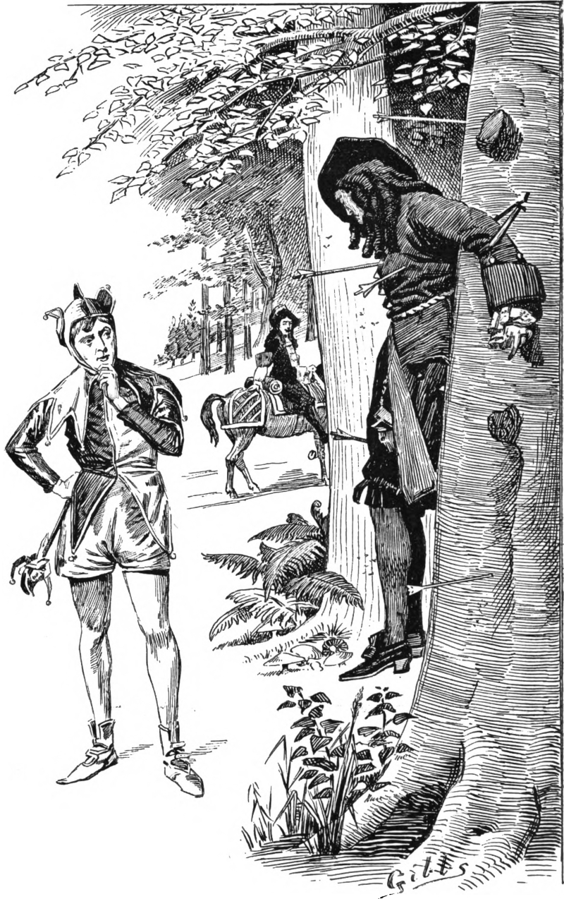 The Fool meets the Ten of Swords.  From English Illustrated, 1904