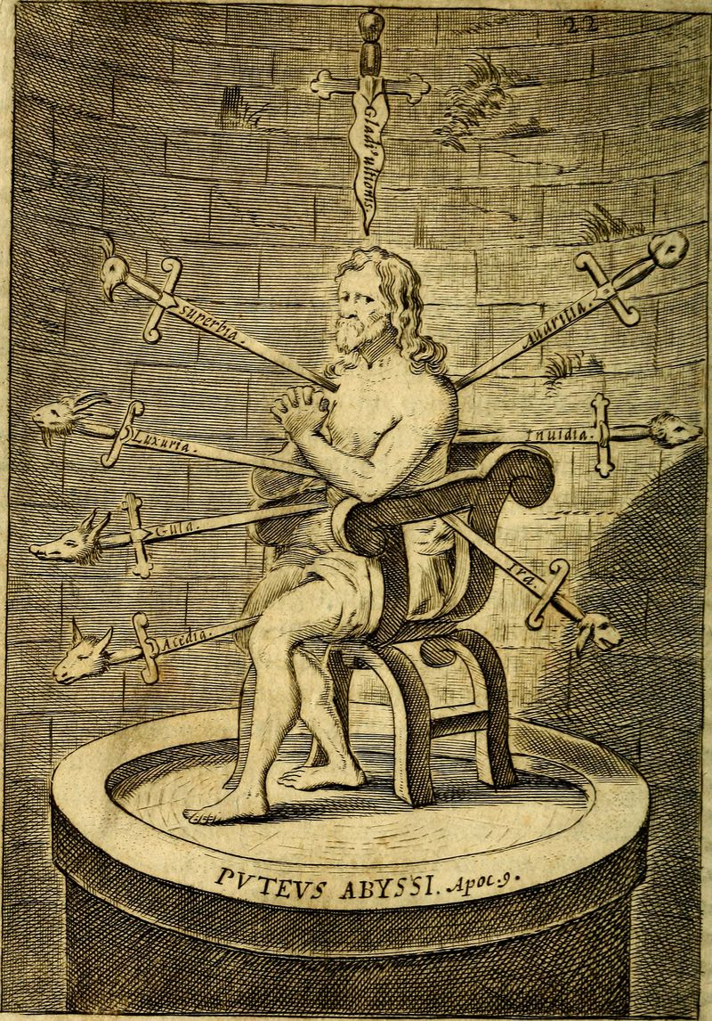 Here's an Eight of Swords from Praxis Exercitiorum Spiritualium P.N. S. Ignatii, 1695