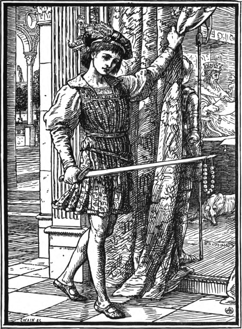 Here's a page of swords with a string of beads on the point of his sword, from The Necklace of Princess Fiorimonde and Other Stories by Mary de Morgan, 1880